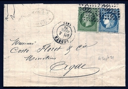 LET 1- LETTRE TIMBRAGE 4 SEPTEMBRE 1871 AVEC EMPIRE N° 20 + CÉRÈS SIÈGE N° 37- GC N° 2068 + CAD LODEVE- 4 SCANS - Marcophilie (Lettres)