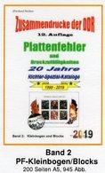 DDR 2019 Teil 6 PF-KB/Blocks RICHTER Neu 25€ Plattenfehler Zusammendrucke Se-tenant Error Special Catalogue Germany - Kataloge