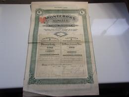 MONTEBRAS Limited , Mine A SOUMANS (creuse) 1908 - Non Classés