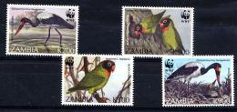 ZAMBIE 1996, WWF OISEAUX Dont  ECHASSIERS, 4 Valeurs, Neufs / Mint. R047 - Zambie (1965-...)