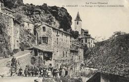CARTE POSTALE ORIGINALE ANCIENNE : AMBIALET LE PASSAGE DE L'EGLISE POUR AMBIALET LE HAUT  ANIMEE TARN (81) - France