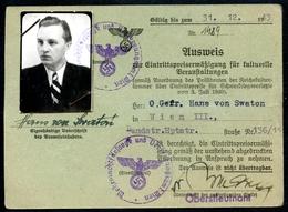 Ausweis, 1943, Wien,Eintrittspreisermäßigung F. Kulturelle Veranstaltungen, 2. Weltkrieg, Wehrmachtsfürsorge - Dokumente