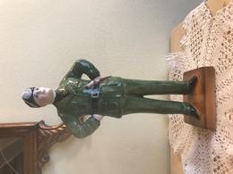Antica Scultura Fascista Statua Fascismo Anni 40 Mussolini In Ceramica  Manifattura Bassano Nove Antonio Zen - Bassano (ITA)