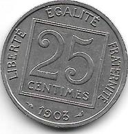 France 25 Centimes  1903  Km  855   Vf+ - France