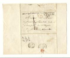 Lettre Héricy à Samois - 1843 - Taxe 1 Décime Rural - Marque De Transit Au Bureau De Fontainebleau - Marcophilie (Lettres)