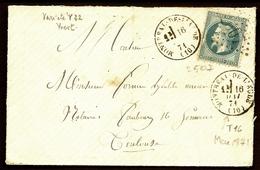 LET 1- ENVELOPPE DE MIGNONNETTE AVEC LAURÉ 20 Ct N° 29 ET VARIÉTÉ + CAD TYPE 16 DE MONTRÉAL-DE-L'AUDE 1871- 3 SCANS - 1849-1876: Période Classique