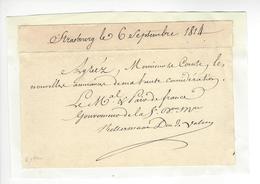 Maréchal Kellermann (1735-1820) Duc De Valmy 1814 AUTOGRAPHE ORIGINAL AUTOGRAPH /FREE SHIP. R - Autographes