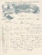 Algérie Facture Lettre Illustrée Bateau Train 11/1/1901 P DESSEIGNE Camionnage Chemins De Fer Transit ALGER & MARSEILLE - Factures & Documents Commerciaux