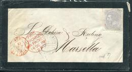 ESPAGNE - N° 187 / LETTRE DU  4/10/1879 POUR MARSEILLE - B - Briefe U. Dokumente