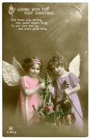 MY LOVING WISH FOR YOUR CHRISTMAS : TWO PRETTY GIRLS - ANGELS, WITH CHRISTMAS TREE AND VIOLIN (HAND COLOURED) - Christmas
