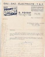 Algérie Facture Lettre Illustrée 24/12/1951 G POISOT Hydrothérapie Eau Gaz électricité TSF ALGER - Factures & Documents Commerciaux