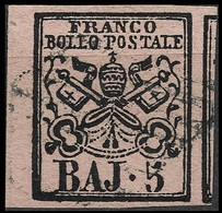 1852 - 5 Baj Rosa Carminio - Sassone 6A  - Margini Eccezionalmente Grandi - Kirchenstaaten
