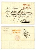 PREFILATELICA DATATA VARALLO SPEDITA DA NOVARA A MILANO 1839  (01A/14A) - Italien