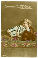 REMEMBRANCE : PRETTY GIRL LYING ON CARPET WITH DOG (HAND COLOURED / GLITTER) - Holidays & Celebrations