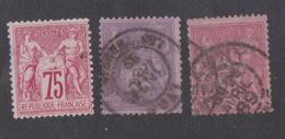 Timbre Type Sage Oblitéré - Lot De 2 Timbres 75 Centimes (Chauny) + 1 Timbre 5 Francs (Lyon Les Abbesses) - 1876-1898 Sage (Type II)