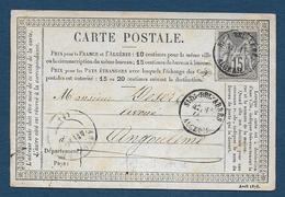 Cachet  Type 16  SIDI BEL ABBES ALGERIE Sur 15c Sage - Marcophilie (Lettres)