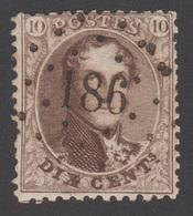 """Oblitération """"CONCOURS"""" à """"POINTS"""" N°186  (HUY) - 1863-1864 Medallions (13/16)"""