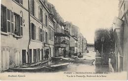 CPA 78 - POISSY - INONDATIONS JANVIER 1910 - Vue De La Passerelle Boulevard De La Seine - Poissy