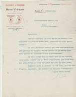 Algérie Lettre 3/2/1932 Henri VIDEAU Alcools D' Algérie Distillerie ALGER - Factures & Documents Commerciaux