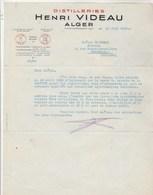 Algérie Lettre 13/6/1935 Henri VIDEAU  Distillerie ALGER - Factures & Documents Commerciaux