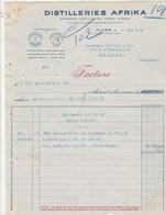 Algérie Facture 4/3/1940 Ex Henri VIDEAU  Distillerie AFRIKA ALGER - Factures & Documents Commerciaux