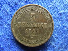 GERMANY SAXONY 5 PFENNIG 1869, KM1218 - [ 1] …-1871 : Etats Allemands