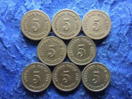 GERMANY 5 PFENNIG 1875B, 1876A KM3, 1905A, 06A, 07A, 11A, 13A, 14, KM11 (8) - [ 2] 1871-1918 : Empire Allemand