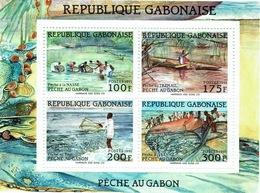 Gabon, Traditional Fishing, 1991,  MNH VF, Superb Souvenir Sheet Of 4 - Gabon