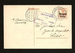 Postkaart Van St Huibrechts-Lille/Lille-St Hubert 28 IV 1917 Naar Lier (Geprüft Hasselt) - Ganzsachen