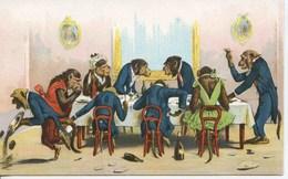 11804 - Illustrateur - SINGES A COMPORTEMENTS HUMAINS  - BANQUET HABILLé - - Singes