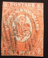 Newfoundland 1860 6d Orange-vermilion Used SG 14 (Terre-Neuve Canada Yv 12 Oblitéré RARE / BNA Flowers Fleurs Blumen - Newfoundland