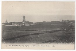 St Catherines Isle Of Wight Lighthouse & Marconi Station LL 33 Vintage Postcard - Angleterre
