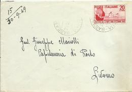 CM216-Lettera Con 20 £ Fiera Levante 29.9.1949 - Bella - 6. 1946-.. República