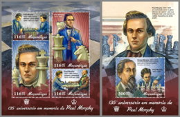 MOZAMBIQUE 2019 MNH Paul Morphy Chess Schach Echecs M/S+S/S - IMPERFORATED - DH1909 - Echecs