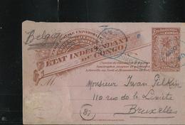 Carte N° 16 (demande) Obl Boma + Griffe Carte Incomplète En Bleu  Pour Bxl - Interi Postali
