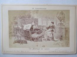 """Photographie Ancienne Format Cabinet - E. Lecadre , Phot. - """"Un Mariage De Raison"""" Par A. Loustaunau -  Assez BE - Photos"""