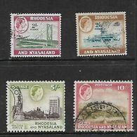 Rhodesia & Nyasaland, 1959, QEII, 2/=, 2/6, 5/=, 10/= Used - Rhodesia & Nyasaland (1954-1963)