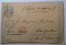 "TORINO 1877 + ""189"" (Piemonte) RARE ""PAPIER D' AFFAIRE"" Lettera > Montpellier, FRANCE(lettre Regno D' Italia Italy Cover - Marcophilia"