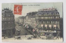 PARIS - 2ème Arr - RUE DE LA PAIX - 1909 - Attelages - Colorisée - Animée - Paris (02)