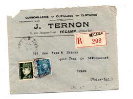 Lettre Recommandee Fecamp Sur Petain Mercure - Marcophilie (Lettres)