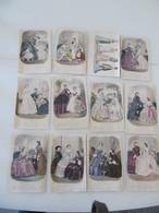 """Lot De 12 Gravures Colorisées """"Magasin Des Demoiselles"""" 1856-1862 Mode - Vieux Papiers"""