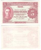 Malaya / JAPANESE Government - 5 Cents 1941 XF+ Lemberg-Zp - Billets