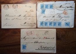 """Corsivo Collettoria Rurale""""TREVISAGO"""" + CAVIRATE (Cocquio Como Varese Lombardia) 1874 Lettera > FRANCE(Regno D' Italia - Marcophilia"""