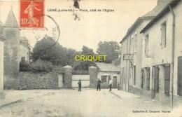 44 Ligné, Place Côté De L'Eglise, Carte Pas Courante Affranchie 1916 - Ligné