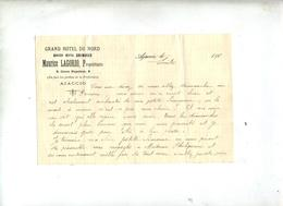 Lettre Entete Hotel Du Nord Ajaccio - Vieux Papiers