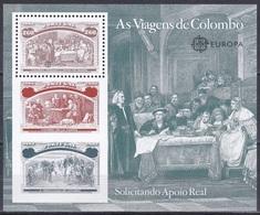 Portugal 1992 Geschichte History Entdeckung Amerika Kolumbus Columbus Seefahrt Schiffe Ships Königin Isabella, Bl. 85 ** - Neufs