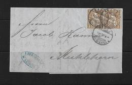 1870 Sitzende Helvetia (gezähnt) → Brief Leipzig Nach Mühlehorn Am Walensee - 1862-1881 Sitted Helvetia (perforates)