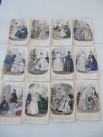 """Lot De 12 Gravures Colorisées """"Magasin Des Demoiselles"""" 1852-1856 Mode - Vieux Papiers"""