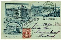 Zürich HÔTEL SCHWERT Am SEE H. Gölden Prop. Mehrbildkarte 1898 - ZH Zürich