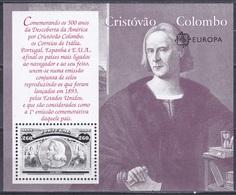 Portugal 1992 Geschichte History Entdeckung Discovery Amerika Kolumbus Columbus Seefahrt Persönlichkeiten, Bl. 90 ** - Neufs